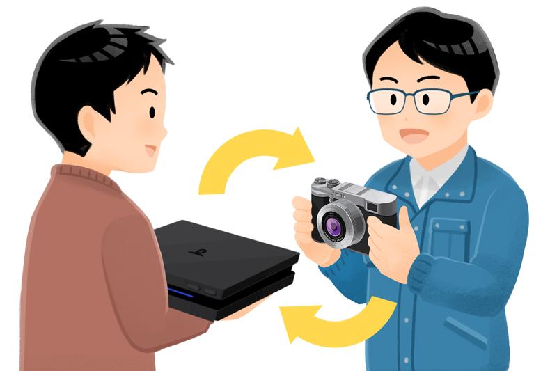 カメラとゲーム機を交換しようとする男性達