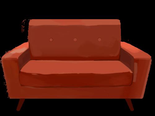 汚れたソファ。