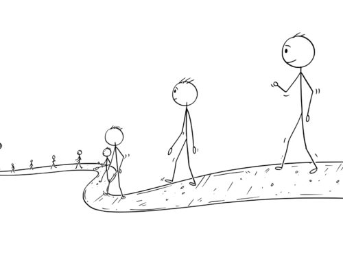 前進していく人を描いたイラスト