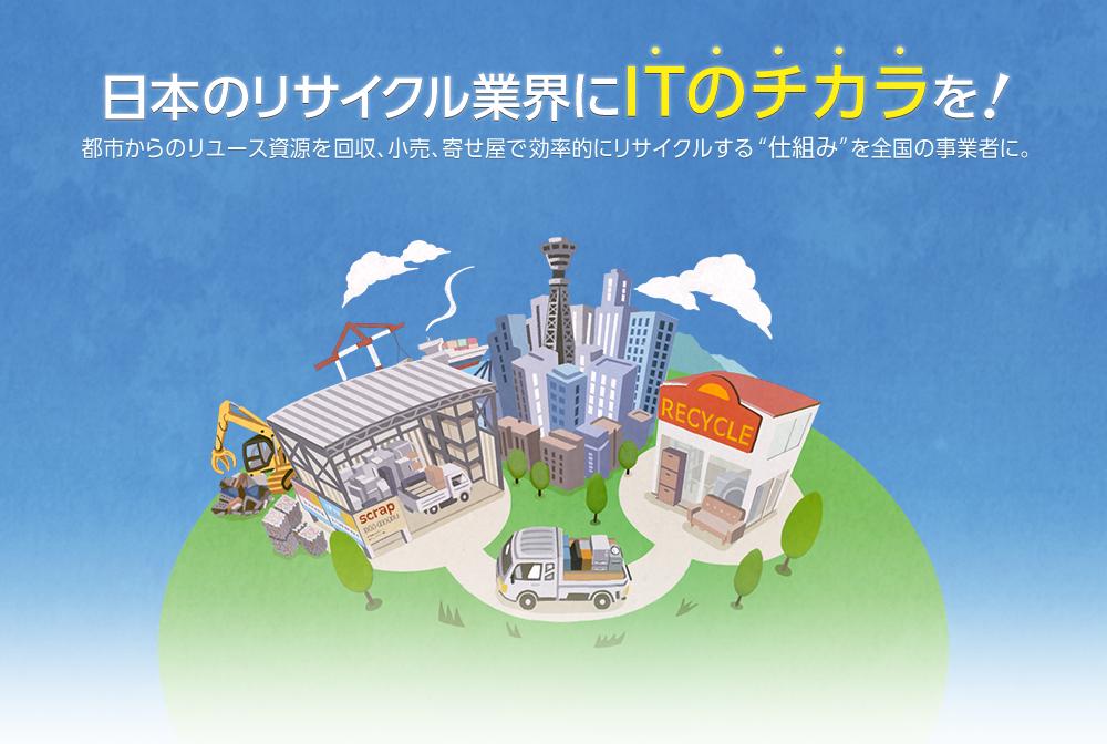 日本のリサイクル業界にITのチカラを!都市からのリユース資源を回収、小売、寄せ屋で効率的にリサイクルする仕組みを全国の事業者に。